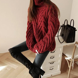 Image 2 - TWOTWINSTYLE Autumn Sweater For Women Long Sleeve Turtleneck Korean Warm Thick Female Sweaters Oversized Fashion New 2020