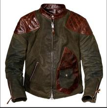 Veste en cuir véritable pour hommes, veste en toile de cire lourde et populaire, couture en cuir de vache dure