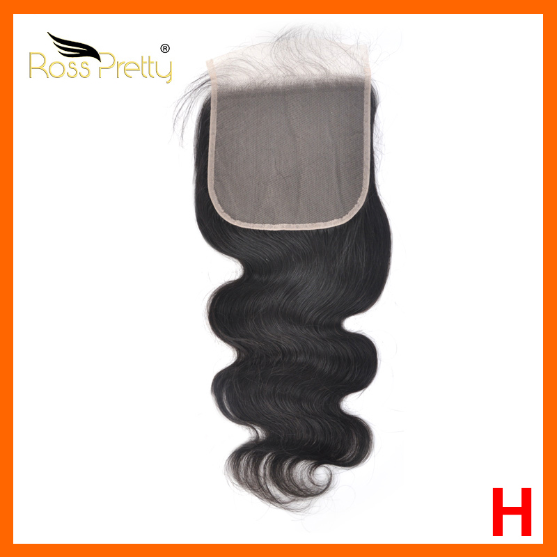 Ross Pretty  6X6 Lace Closure Brazilian Body Wave  Transparent Lace Remy Human Hair Bleached Knots Natural Hairline