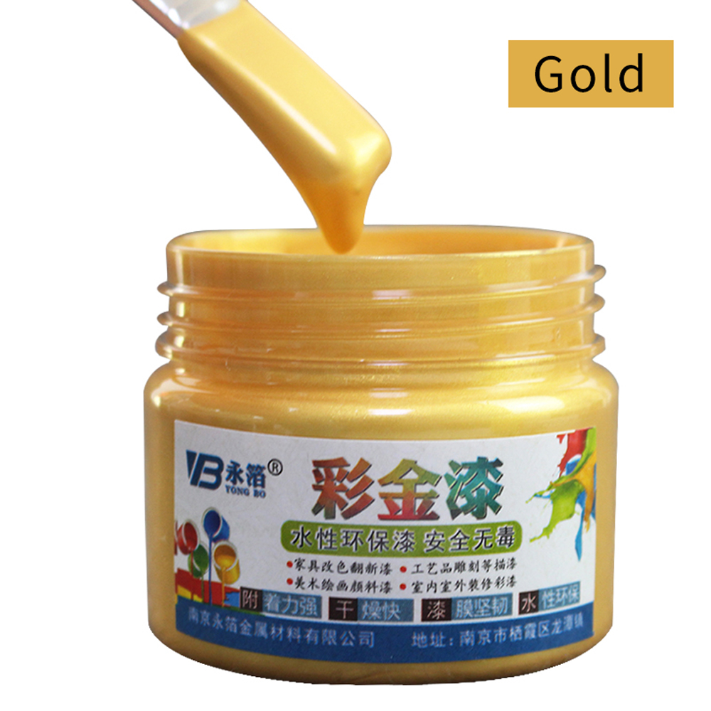 100g Gold Paint Wood Varnish Water-based Paint Acrylic Paint In Walls Art Crafts Wooden&Iron Door Paint For Wood Furniture Paint