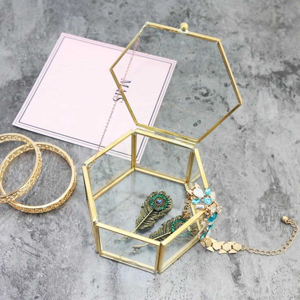 Geometric Clear Glass Jewelry Box Organizer Holder Necklace Storage Container Great For Displaying Jewelry Keepsakes Plants Gift