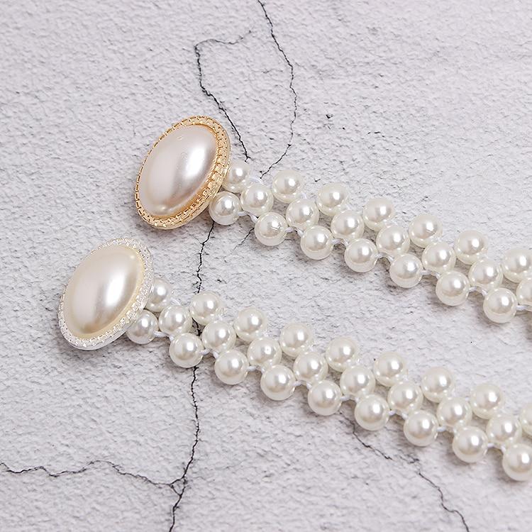 Cinturón blanco perla mujeres chicas moda diy hebillas obag Correa cinturones Niza alta calidad caída cinturones de barco hebillas