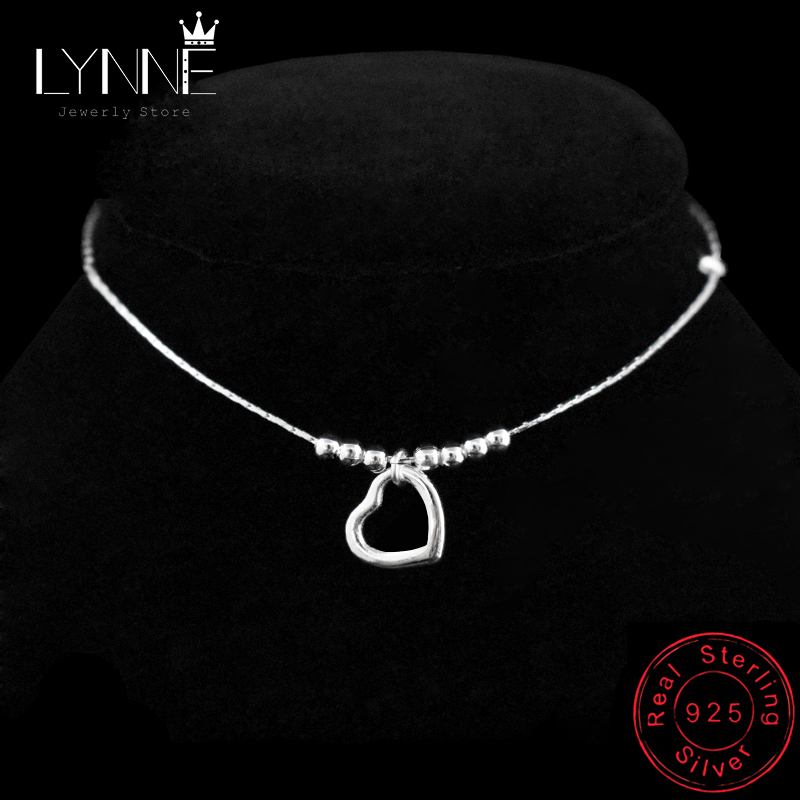 New Fashion Heart Pendant Anklet 925 Sterling Silver Ladies Love Heart & Bead Anklets Bracelet Foot Chain For Women Jewelry Gift