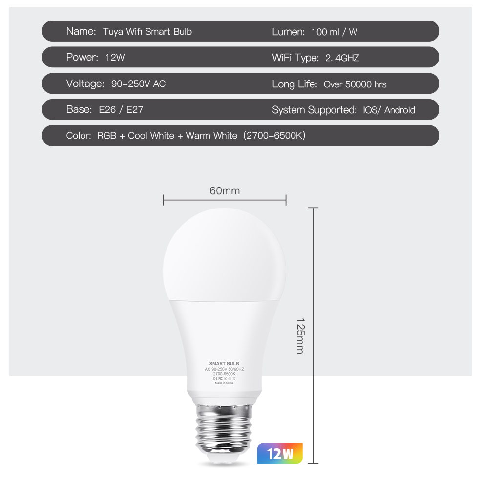 WiFi Smart Home LED Bulb RGB CW E27 LED Lamp Voice Control Color Changes Dimmable Work With Amazon Alexa Google Tuya Smart Life