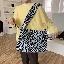 Zebra Pattern Faux Fur Bags Women Shoulder Bag Large Capacity Winter Plush Crossbody Messenger Bag Big Shopper Bag Furry Purse