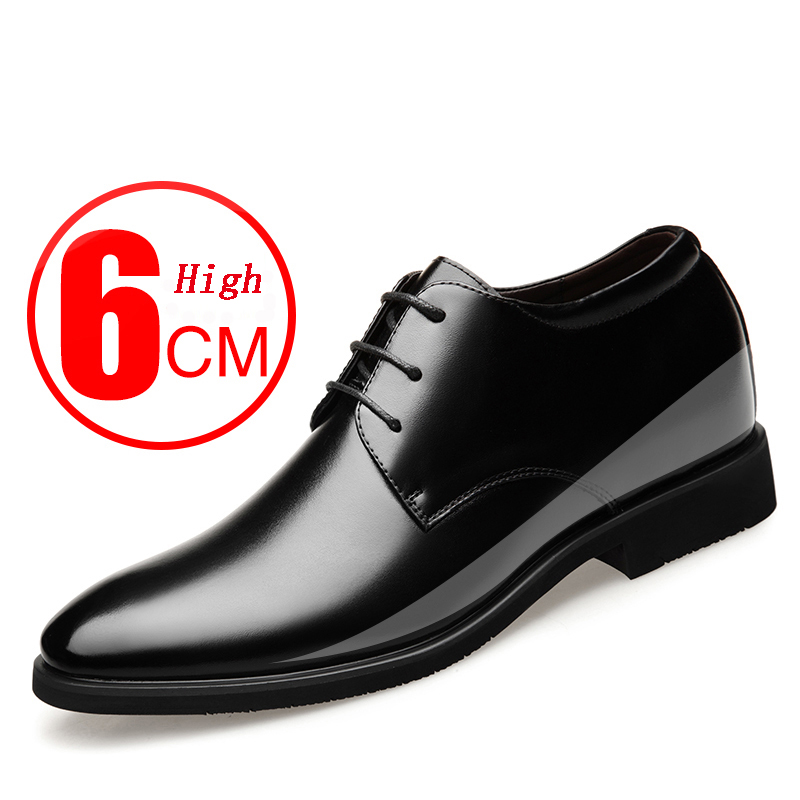 2020 Newly Men's Cowhide Leather Shoes Size 37-43 6CM Increasing Britis Leather Office Shoes Man Height Leather Shoes
