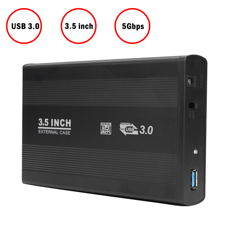 VKTECH 3.5 Inch USB 3.0 To SATA Port Portable External SSD Hard Drive Enclosure External Solid State Hard Disk Box New