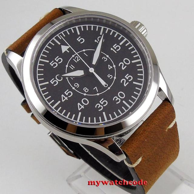 wholesale 42mm Corgeut black sterile dial supper luminous marks Sapphire Glass pilot watch sea-gull 1612 Automatic mens Watch