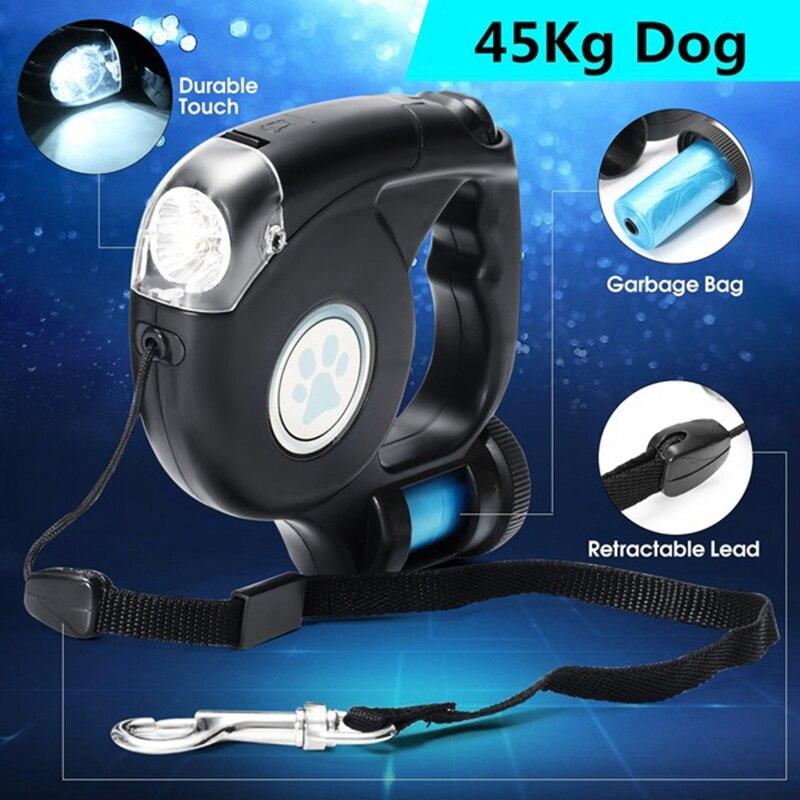 4,5 м светодиодный поводок для собаки выдвижной поводок для собаки поводок с мешком для мусора