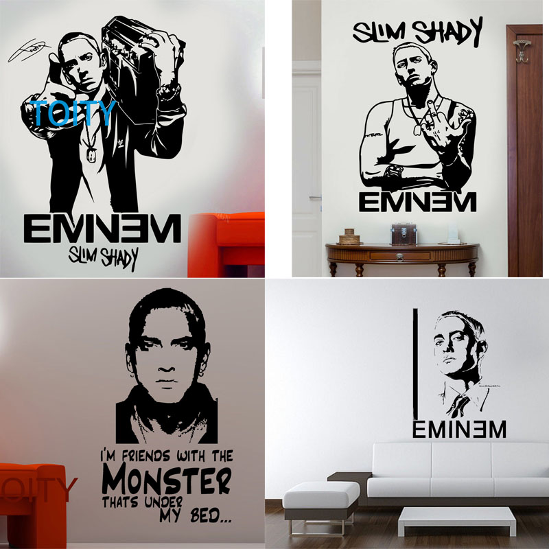 13 Designs Eminem Wall Sticker Rapper Music Decal I'm Friends With The Monster Quote Vinyl Decor Bar Dorm Home Room Mural image