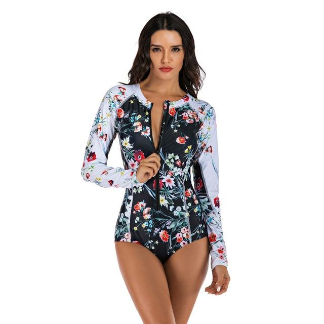 Women Long Sleeve Floral Print Zipper One Piece Swim Bathing Suit Surf Suit Wetsuit Swimwear 2