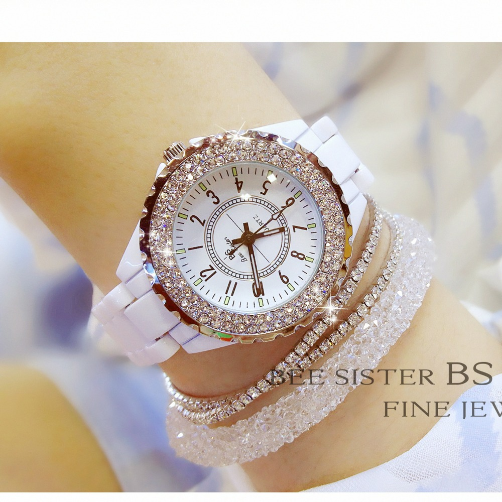2019 New Luxury Women <font><b>Watches</b></font> White Ceramic Diamond Ladies Female <font><b>Watch</b></font> Gift Relogios Femininos Fashion Quartz Wristwatch Clock image
