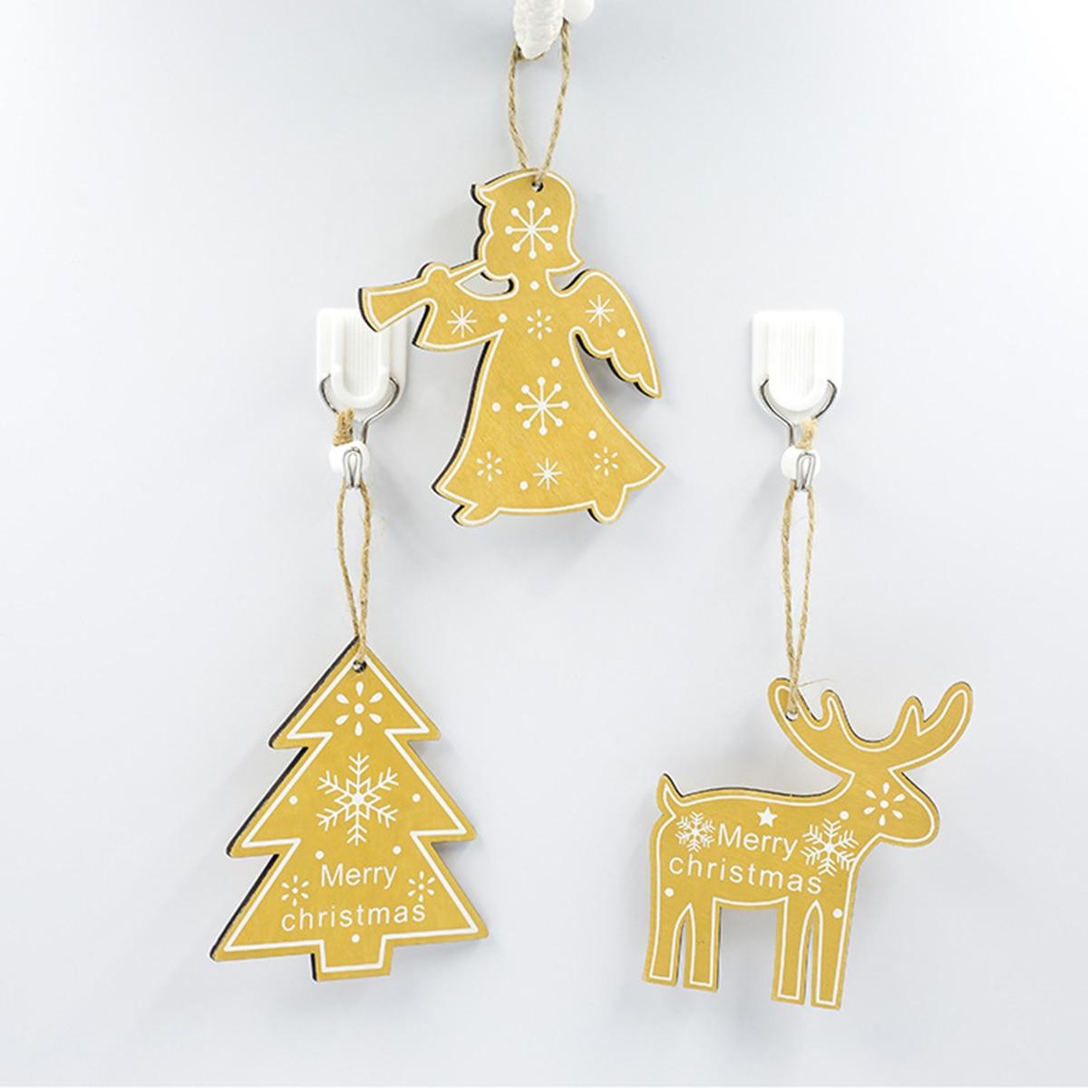 3pcs Merry Christmas Decorations DIY Unique Gift Xmas Tree + Angel + Elk Wooden Hanging Ornament Hanging Decor 2019