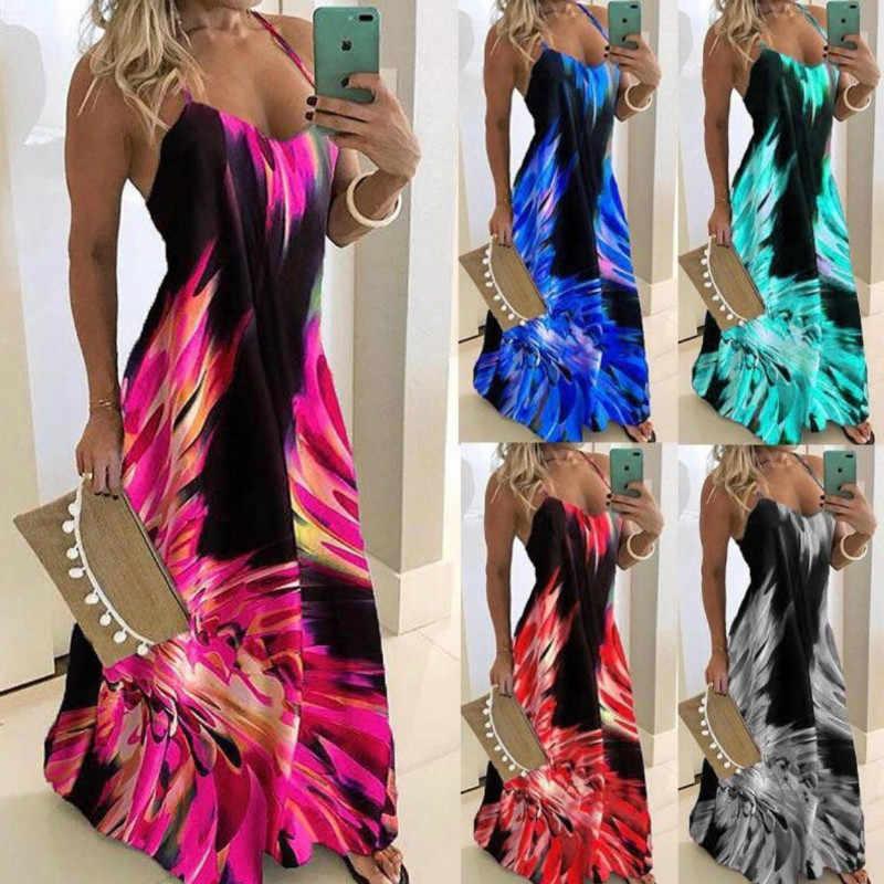 Синий и красный цвета тонкий Платье с цветочным принтом и сексуальными тоненькими лямками без рукавов Для женщин длинное платье летние пляжные платья с принтом размера плюс 5XL
