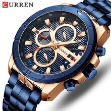 CURREN montre à Quartz pour hommes, Top de luxe, marque de luxe, en acier inoxydable, chronographe daffaires, de sport militaire