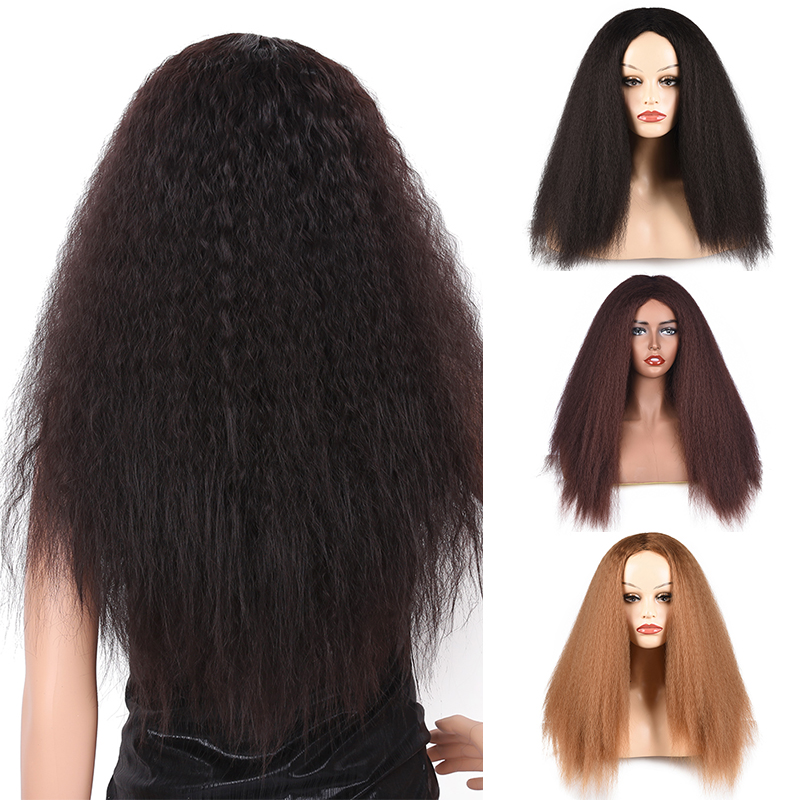 Long Straight Wigs Black Kinky Straight Synthetic Wigs For Women Natural Handline Middle Part Wig Heat Resistant Fiber Dream Ice