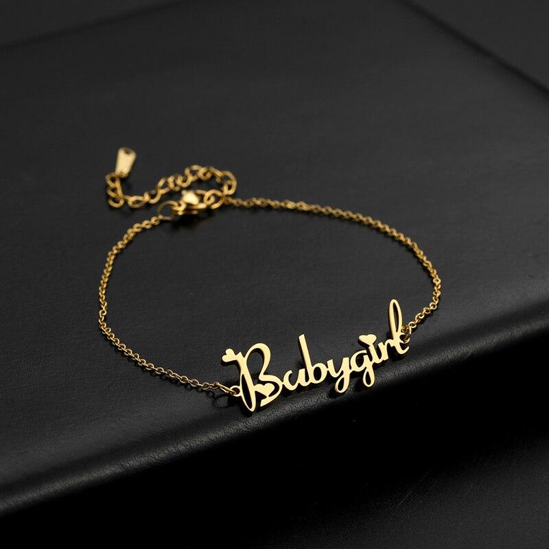 Женский браслет Lemegeton, браслет из нержавеющей стали с индивидуальным именем, рождественские подарки