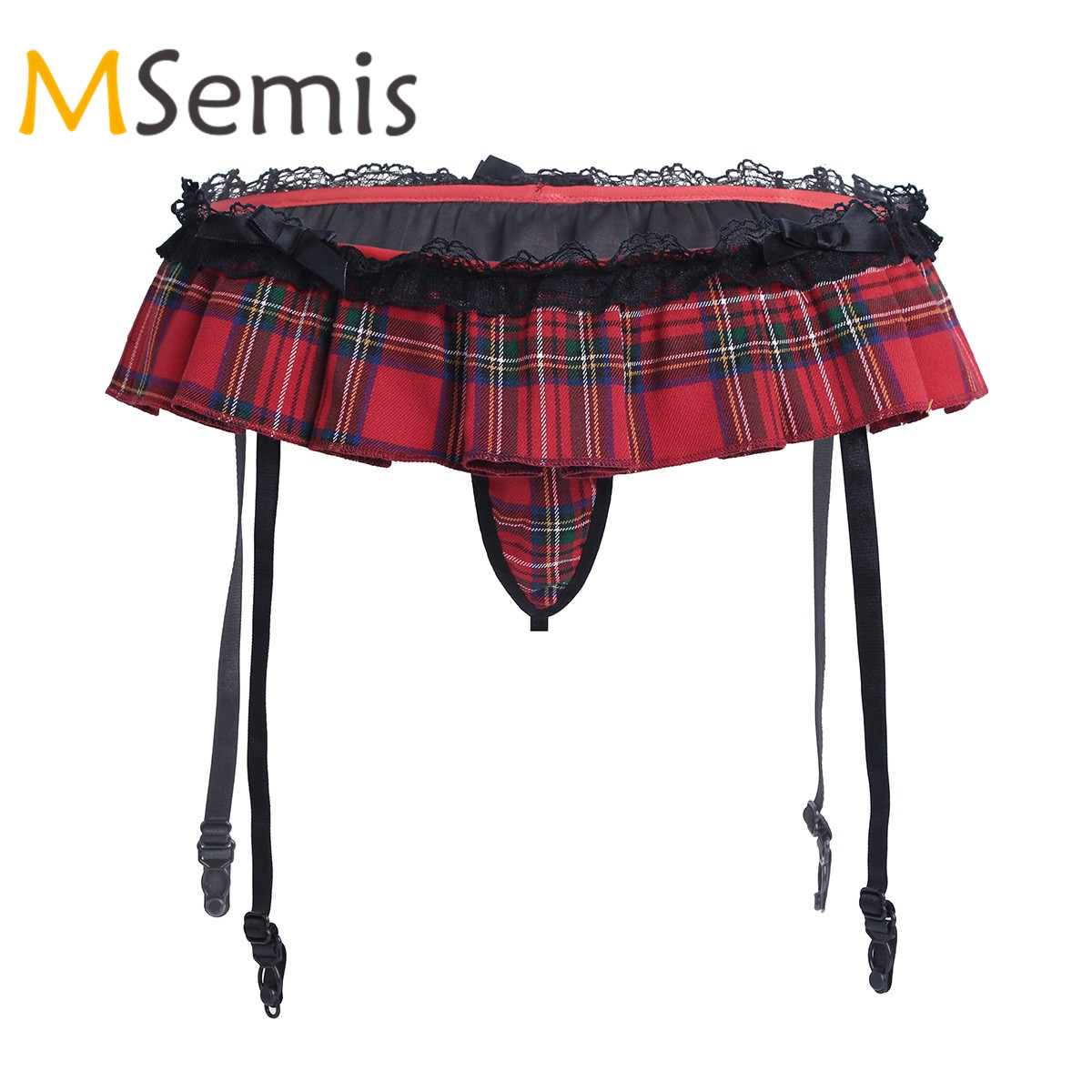 Women's Lingerie Underwear Plaid Little Skirted G-string Thong Gwith Sock Garter Belt Holder Fastener Suspender Thong Panties