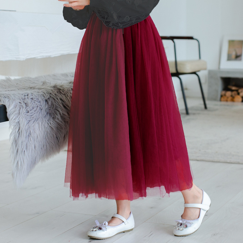2020 Spring Summer Children Skirts Fluffy Soft Tulle Girls Tutu Skirt Long Girls Skirts For 2-12Y Kids Mesh Ball Gown Skirt