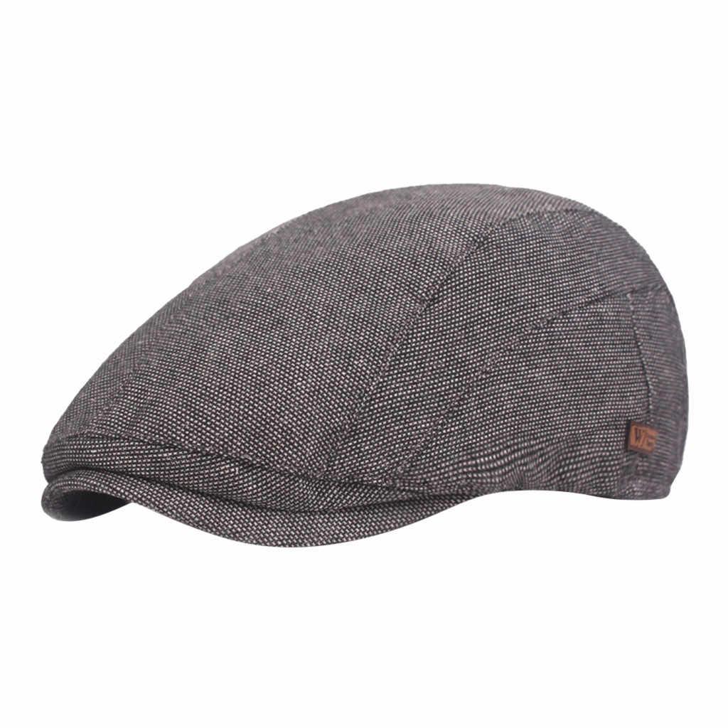 Musim Dingin Topi untuk Pria Tukang Koran Cappello Strillone Vintage Topi Datar Baker Bebek Golf Sopir Taksi Topi Unisex Solid Retro # D