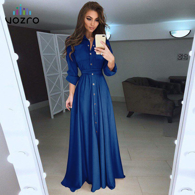 VOZRO 2019Self-cultivation Long Sleeve Button Waist Chalaza Longuette Sexy Women Winter Maxi Party Dress 5 Color 8 Code Vestidos