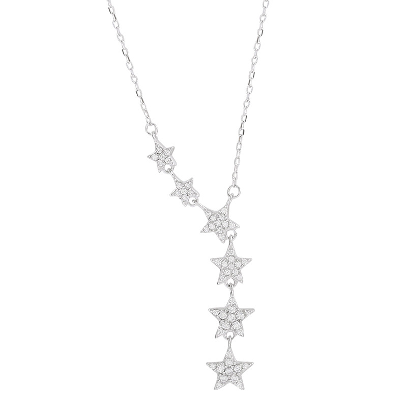 ANENJERY Silver Color Dazzling Cubic Zirconia Star Pendant Necklace For Women Choker Wedding Jewelry S-N456