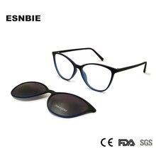 ESNBIE خفيفة الرجال TR90 النظارات الإطار المغناطيسي كليب النظارات الشمسية النساء الاستقطاب مصمم Nerd إطارات النظارات العين نظارات