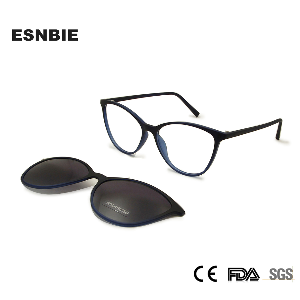 Ladies Cats Eye Glasses Frames With Magnetic Polarized Clip On Sunglasses Women Cat Eye TR90 Optical Frame Prescription