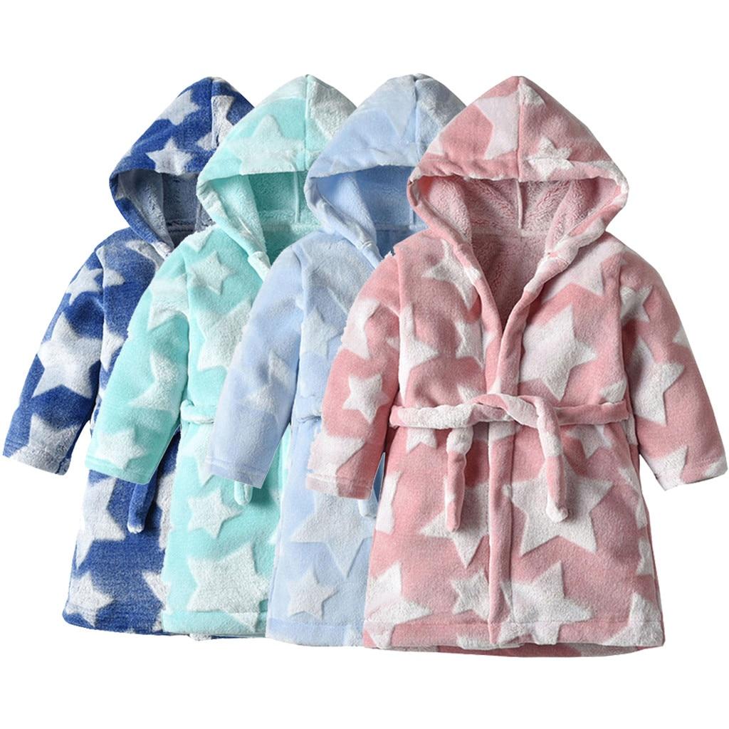 New Kids Boys Girls Dressing Gown Hooded Bathrobe Sleepwear Night Bath robe