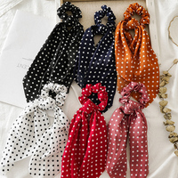 2021 New Women Ponytail Hair ties Scarf Elastic Hair Rope for Women Bow Ties Scrunchies Hairbands Dots Ribbon Hair Accessories