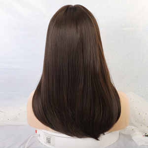 Image 3 - EASIHAIR Long Dark Brown Straight Synthetic Wigs with Bangs Natural Wigs for Women African American Heat Resistant Cosplay Wigs