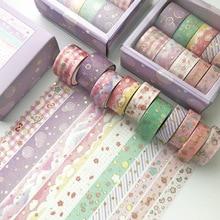 10 pcs/set Kawaii Pink world gold Decorative Adhesive Tape Masking Washi Tape Diy Scrapbooking Sticker Label Japanese Stationery