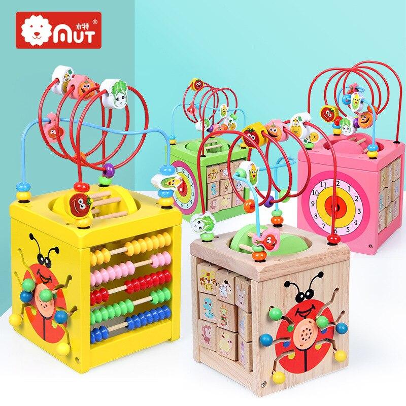 Wooden Qualitative Infants Children Beaded Bracelet Multi-functional Bead-stringing Toy Treasure Chest Early Childhood Education