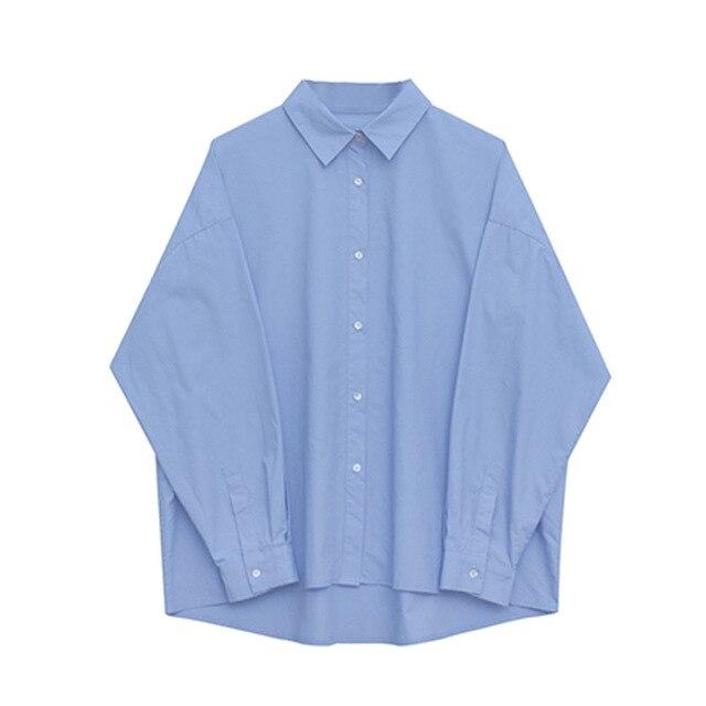2021 Spring Summer Women Blouse Korean Long Sleeve Womens Tops Blouses  Solid Loose Women Shirts Blusas Roupa Feminina Tops 6