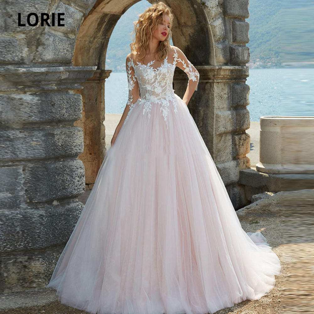 LORIE 2019 Pink Wedding Dresses Lace 3/4 Long Sleeves Appliques A Line Tulle Wedding Gowns, Back Illusion Beach Bridal Gown Boho