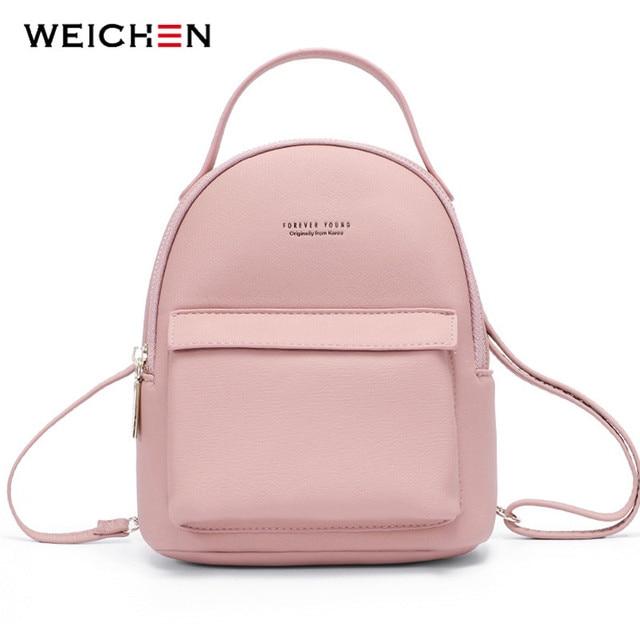WEICHEN çok fonksiyonlu kadın sırt çantası deri moda küçük sırt çantası kadın bayanlar omuzdan askili çanta Satchel Mini Mochila çanta