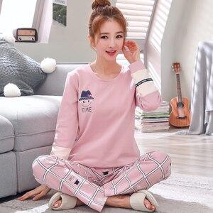 Image 4 - Пижамный комплект для мужчин и женщин, мягкая хлопковая одежда для сна с длинным рукавом и принтом, пикантная весенняя одежда для дома, для пар, подарок