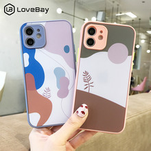 Contrast Color Phone Case For iPhone 11 12 Pro Mini Max X XR XS Max 7 8 Plus SE 2020 Art Leaves Camera Protection Hard PC Cover