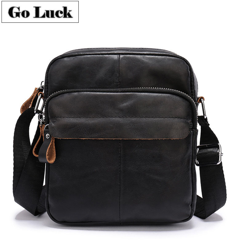 GO-LUCK Brand Genuine Leather Men Crossbody Shoulder Bag Men's Messenger Bags Casual Male Cowhide Travel Pack Black Color