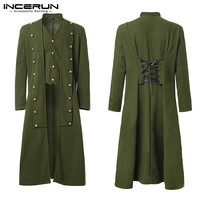INCERUN Gothic Men Coats Steampunk Long Sleeve Vintage Button Solid Trench Longline Outerwear Men Windbreakers Medieval Costume