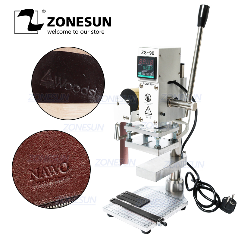 ZONESUN Two Work Plate Manual Paper Leather LOGO PVC Hot Foil Stamping Bronzing Embossing Machine Heat Press Machine Punch Press