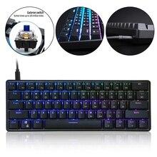 GK61 SK61 61 клавиша механическая клавиатура USB проводной светодиодный подсветкой ось игровая механическая клавиатура Gateron оптические переключ...