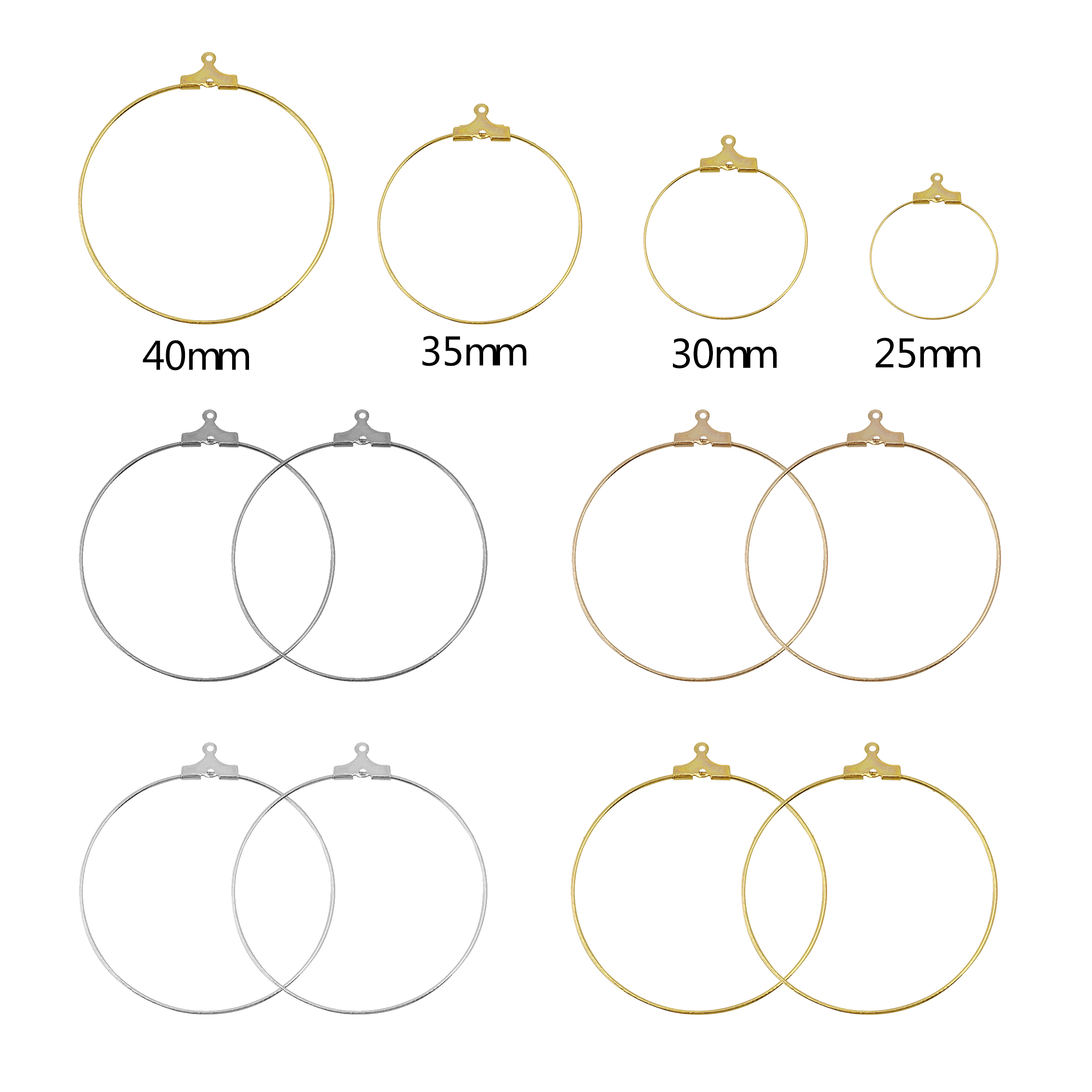 30pcs/lot 25-40mm Big Round Hoops Earrings Circle Classic Fashion Iron Ear Wires Hooks For DIY Jewelry Making Findings Material