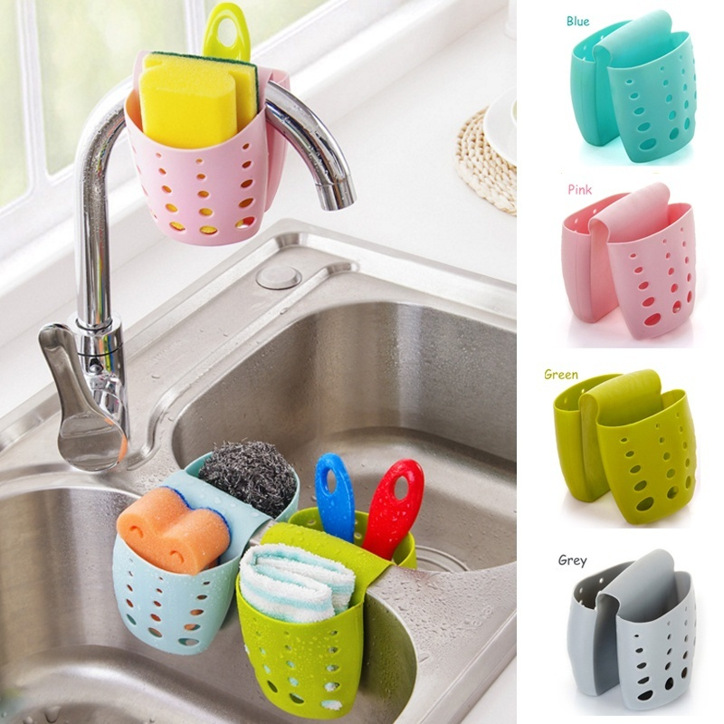 Kitchen Tools Kitchen Sink Saddle Style Double Silicone Sponge Holder Sink Rack Storage Organizer Soap Kitchen Gadgets