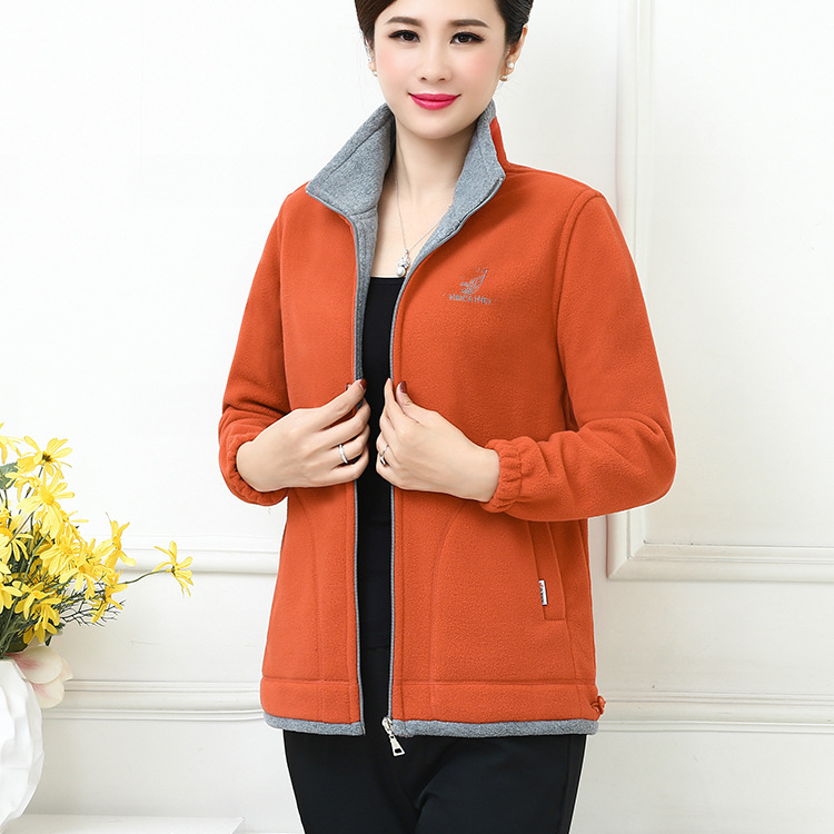Middle-aged Hoodie Coat Camel Fiber Outdoor Sports Long Sleeve WOMEN'S Cardigan Polar Fleece Cardigan-China Fleece Tops
