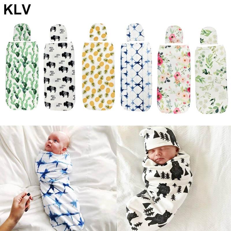 Newborn Baby Sleeping Bag Cute Animal Printed Swaddle Blanket Sleeping Swaddle Muslin Wrap+Hat 2pcs New Born Set