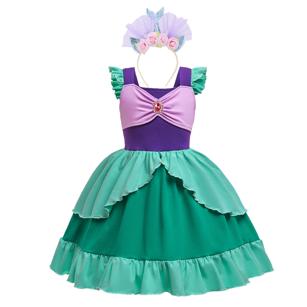 2019 New Baby Girl Mermaid Dress Girls Little Mermaid Ariel Princess Dress Cosplay Costumes For Kids Up Sets Children Clothing