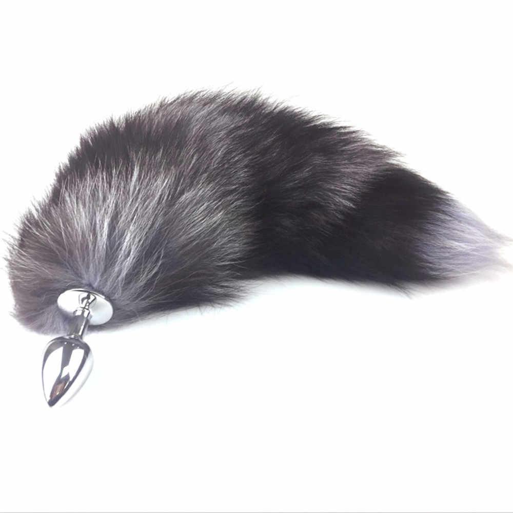 Stainless Steel Anal Plug Fox Tail Butt Plug Anal Sex Toys Anal Tail Plug G Spot Vibrator Dildo Anal Dilator Relax Body Massage