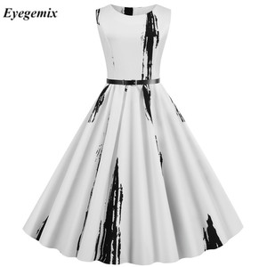 2020 New Women Vintage Dress White Printed Summer Dresses Plus Size Robe Pin Up Retro 50s 60s Rockabilly Party Sundress Vestidos