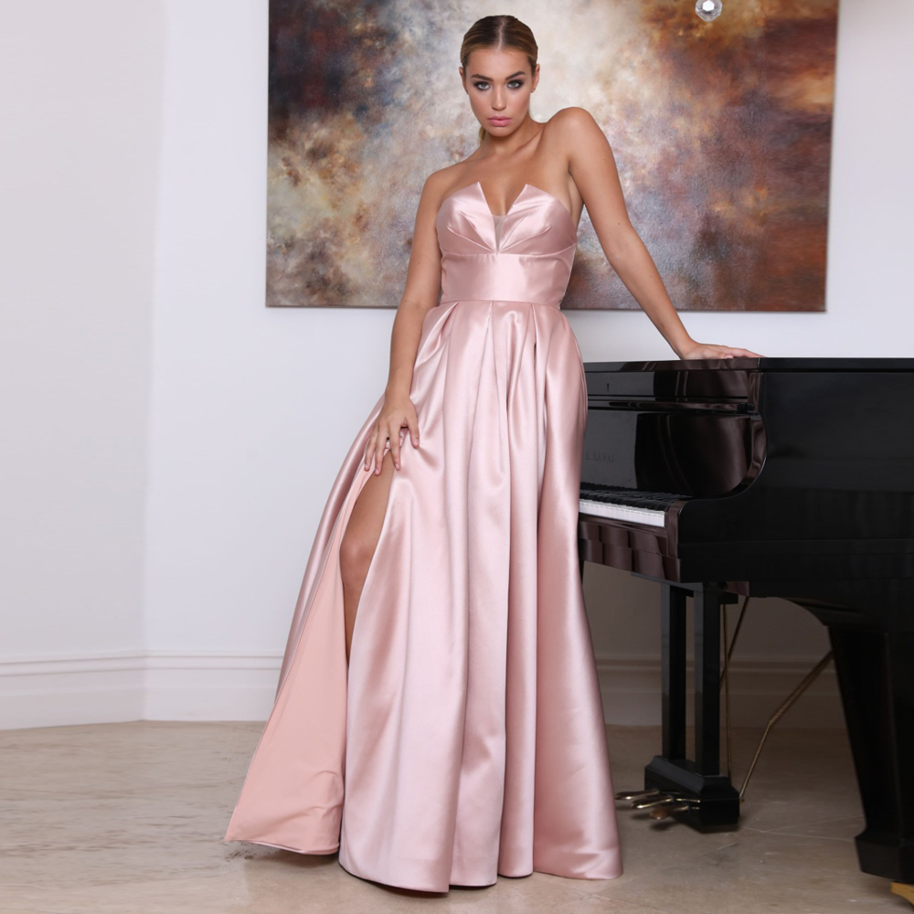 2020 New Arrival Strapless Evening Dress Long A-line Pink Robe De Soiree With Sexy Slit Party Prom Dresses платье вечернее